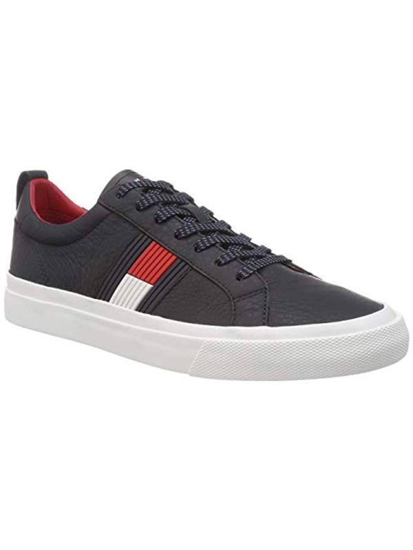 ed5b83f5843f62 Tommy Hilfiger Flag Detail Leather Sneakers - Buy Online from Pettits