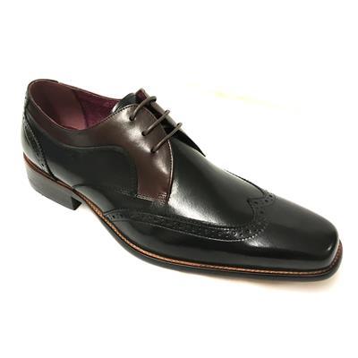 Azor SARDINIA Mens Leather Derby Brogues Black//Burgundy