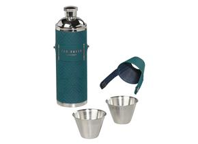 Ted Baker Hip Flask With Shot Cups - 970 Teal