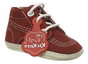 Kickers Shoes - Kick Hi Crib Red Suede