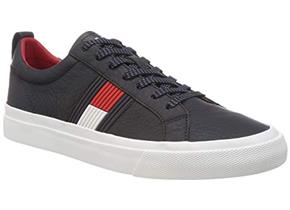 Tommy Hilfiger Shoes - Flag Detail Leather Sneaker Navy