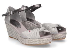 Tommy Hilfiger Sandals - Iconic Elba Metallic Canvas Light Grey