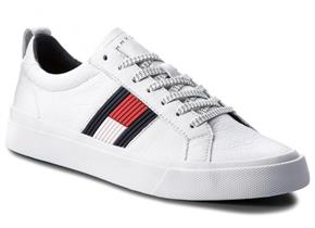 Tommy Hilfiger Shoes - Flag Detail Leather Sneaker White