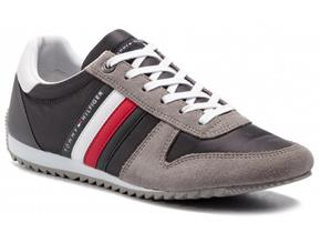 Tommy Hilfiger Sneakers - Essential Nylon Runner Grey Leather