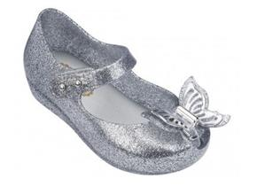 MELISSA SHOES - MINI ULTRAGIRL BUTTERFLY SILVER