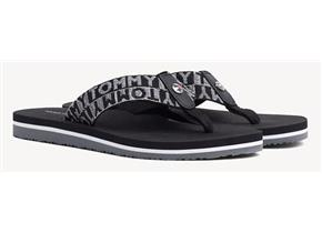 Tommy Hilfiger Sandals - Flat Beach Shiny Jacquard Black