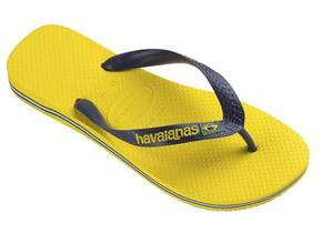 Havaianas Sandals - Brasil Logo Navy Yellow