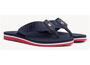 Tommy Hilfiger Sandals - Flat Beach Jacquard Navy