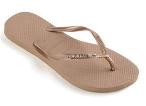Havaianas Sandals - Slim Metal Logo and Crystal Rose Gold