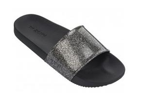 Zaxy Sandals - Snap Glitter Slide Black