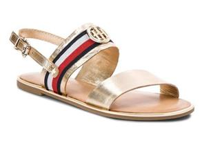 Tommy Hilfiger Sandals - Corporate Ribbon Flat Sandal Gold