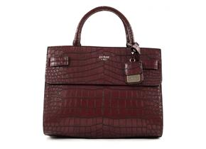 Guess Bags - Cate Satchel Burgundy Croc