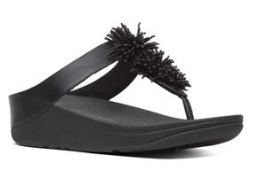 FitFlop™ Sandals - Fino™ Bead Pompom Black