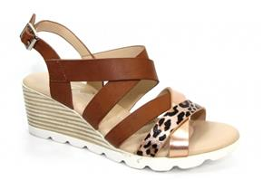 Lunar Sandals - Ollie JLY172 Brown Leopard